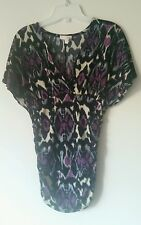 One Clothing Purple Tribal Print Strtchy Tight Short Sleeve Blouse Size Small