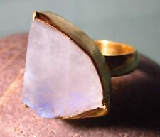 Gold plated brass rough rainbow moonstone ring UK N/US 6.75