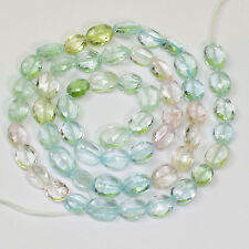 "Multi-Color Aquamarine Morganite Heliodor Faceted Oval Nuggets 16"" Strand"