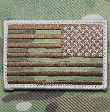 AMERICAN USA REVERSE FLAG MULTICAM ISAF HOOK & LOOP MORALE BADGE PATCH
