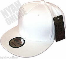 NEW PLAIN SNAPBACK CAP BLACK BASEBALL HIP HOP ERA RETRO FITTED FLAT PEAK HAT