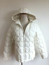 MACY'S Charter Club Hooded Down Puffer Coat Ivory Size S