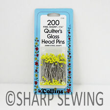 """COLLINS QUILTERS GLASS HEAD PINS 1 3/8"""" 200 EACH - YELLOW #C106"""