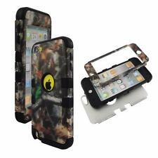 For Apple ipod Touch 5 Hybrid BlkStrip Camo Stem V Hard Soft Cover Case