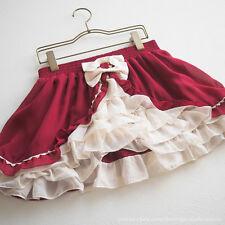 Yumetenbo / DearMyLove Ribbon Wine-Red Culotte Skirt Lace-frill Lolita M Japan