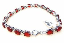 #10810 21.0ct 6x8mm Ruby Red Helenite Oval Sterling Silver Bracelet [7.5 Inches]