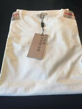 New Burberry White Patch Shoulder Nova Check Plaid Men T-shirt XXL XL L M $225