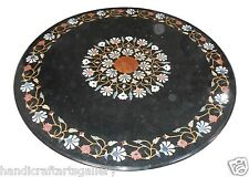 "Size 24""x24"" Black Marble Coffee Table Set Marquetry Mosaic Inlay Outdoor Decor"