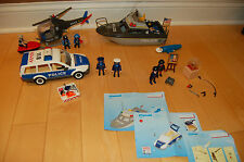 Lot of Playmobil Police 5764/4265/4260/5786 car helicopter boat & add ons