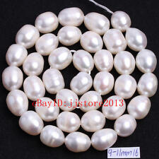 9-11mm Natural White Freshwater Pearl Oval Shape Gemstone Loose Beads Strand15""