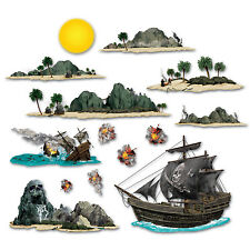 Pirate Party Scene Setter Add-on Props Decorations - Pirate Ship & Island