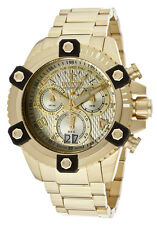 New Mens Invicta 13721 Arsenal Chronograph MOP Dial Gold Tone Bracelet Watch