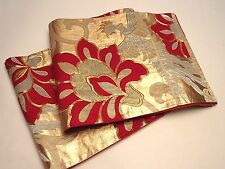 Gorgeous Japanese Silk  Fukuro Obi w/Flower & Phoenix Design
