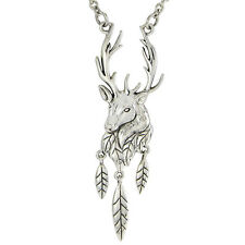 Sterling Silver Antlered Stag Necklace Jewelry 18 inch chain  Horned Deer Antler