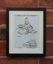 USA Patent Drawing STAR WARS FILM IMPERIAL SHUTTLE ship Luke MOUNTED PRINT 1985