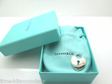 TIFFANY & CO HEART LOCK CHARM PENDANT SOLID STERLING SILVER .925 LARGE