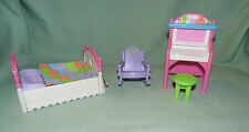 Fisher Price Loving Family Bouncy Bed Boing, Purple Rocking Chair, Desk Stool