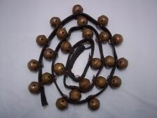 """24 VINTAGE NO.1 BRASS SLEIGH / JINGLE BELLS ON 63"""" LEATHER STRAP"""