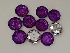 LOT 10 BOUTONS FANTAISIES STRASS VIOLET FONCE 18 mm - 2 TROUS - COUTURE
