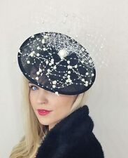 BLACK DISC HAT FASCINATOR PEARL PEARLS NET VEIL VINTAGE WEDDING RACES ASCOT 50s
