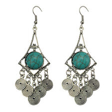 Vintage Bohemian Turquoise Earrings Ethnic Tassel Dangler Jewelry for Women