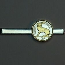 J&J Coin Jewelry Gorgeous Gold on Silver Irish Rabbit Tie Clasp/Clip/Made in USA