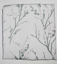 one metre cotton poplin in silver grey with blossom twigs with pale flowers
