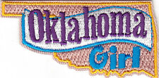 """OKLAHOMA GIRL""-Iron On Embroidered Patch/ State Shape/Words, Names, Sayings"