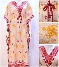 PLUS SIZE BOHO ETHNIC AZTEC INDIAN ELEPHANT PRINT KAFTAN DRESS RED 22 24 26 28
