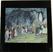 COLOUR Glass Magic lantern slide LOURDES TITLED SPRING C1900 FRANCE