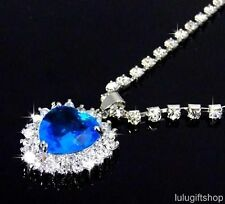 TITANIC HEART OF THE OCEAN PENDANT NECKLACE USE SWAROVSKI CRYSTAL BRIDAL WEDDING