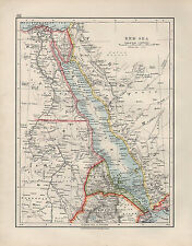 1909 VICTORIAN MAP ~ RED SEA ~ ABYSSINIA ERITREA EGYPT