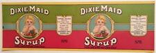 Original Vintage Dixie Maid Syrup Can Label Roddenbery Cairo, Georgia Large Size