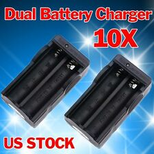 10PC 18650 Battery Dual Charger Use For 18650 3.7v Li-ion Rechargeable Battery