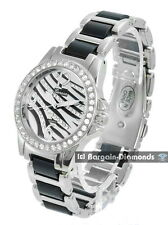 Ladies Silver-tone Zebra Fashion Dress Watch bracelet modern CZs