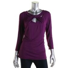 INC 0813 Womens Purple Cut-Out 3/4 Sleeves Casual Pullover Top Shirt S BHFO