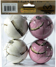 REALTREE CAMO CHRISTMAS ORNAMENTS - PINK & WHITE SNOW CAMOUFLAGE - HOLIDAY DECOR