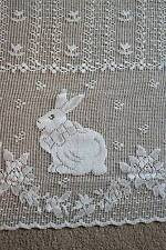"Scottish cotton cafe curtain lace valance brise-bise 27"" Bunny Rabbits yardage"