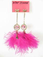 Auth New Betsey Johnson Lips and Feather Drop Post Earrings