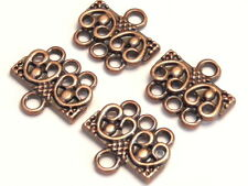 TWO SETS 3 HOLE SLIDER BEAD LINK END BAR CLASP CONNECTOR ANTIQUED COPPER PLATED