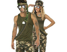ARMY MILITARY ACCESSORY KIT GLASSES BANDANA DOG TAG BULLET BELT LONG FANCY DRESS