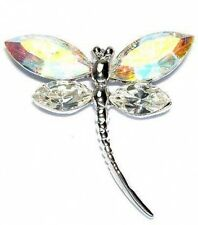 w Swarovski Clear Crystal Bridal Wedding SEXY AB ~DRAGONFLY Pin Brooch Xmas Gift