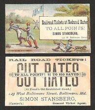 1880s Small Ad Trade Card Baltimore Maryland Base Ball Scene Railroad Tickets