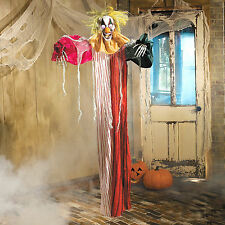 6ft Hanging Scary Skeleton CLOWN light up eyes Halloween Party Supplies Prop