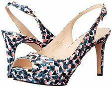 Nine West ABLE 6 M Blue Multi Pump Slingback buckle Peep Toe Stiletto New w Box