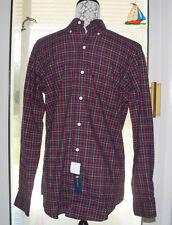 Polo Ralph Lauren Shirt Navy/Red Plaid Small 100% Cotton Button-Front $89.50