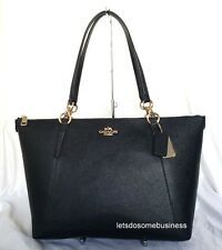 COACH Ava Tote Black Crossgrain Leather Purse Shoulder Handbag Satchel F57526