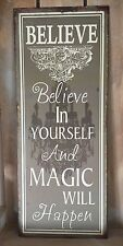 Metal Wall Plaque 'Believe In Yourself' Shabby Vintage Chic Tin Tall Sign Gift