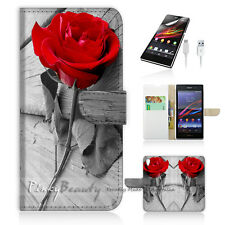 Sony Xperia Z3 Compact Mini Flip Wallet Case Cover! Red Rose P0086