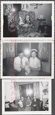 Lot of 3 Unusual Vintage Photos Family & Baby w/ Camera Flash in Window 658930
